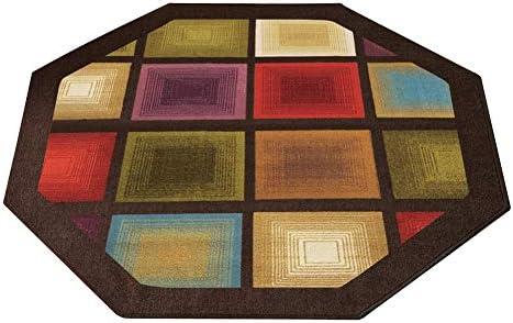 Colorful Optic Squares Geometric Octagon Area Rug