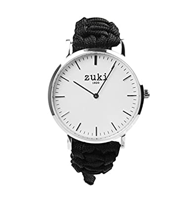 Zuki Paracord Watch with Handcrafted Black Bracelet Band – Swiss Quartz Movement – Men's and Women's – Casual and Fashion Wristwatch – Brushed Silver with White