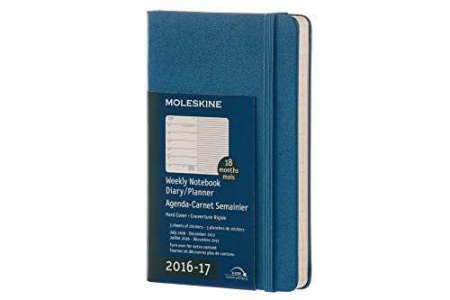Moleskine 2016-2017 Weekly Notebook, 18M, Pocket, Steel Blue, Hard Cover (3.5 x 5.5)