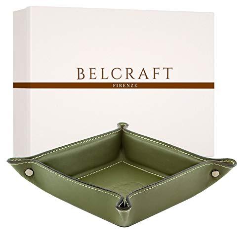 Belcraft Orvieto Vaciabolsillos de Piel Italiana, Hecho a Mano, Incluye Caja, Verde (19×19 cm)