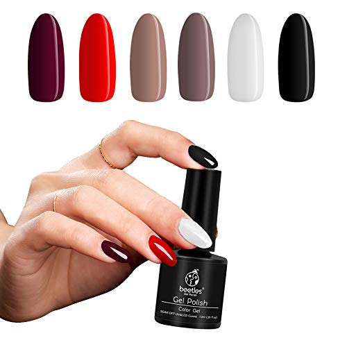 Beetles Black White Red Gel Nail Polish Set, UV/Led Required Soak Off Gel Polish Kit, French Nail Manicure Kit DIY at Home
