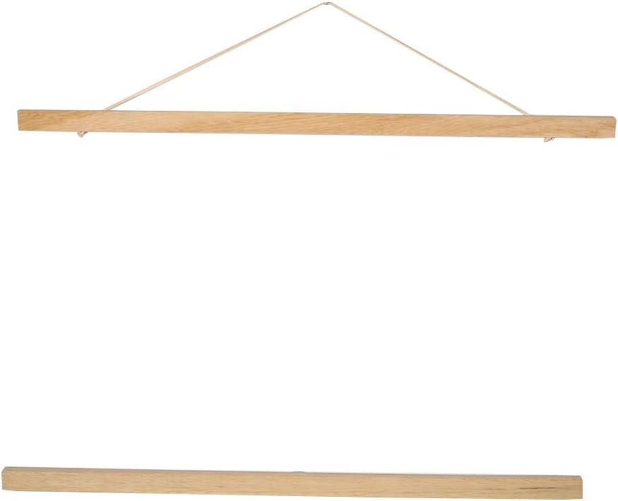 Teak Wood, 21CM Magnetic Wood Frame DIY Poster Scroll Artwork Print Holder Canvas Quilt Wooden Hanging for Home Decor Wall Art