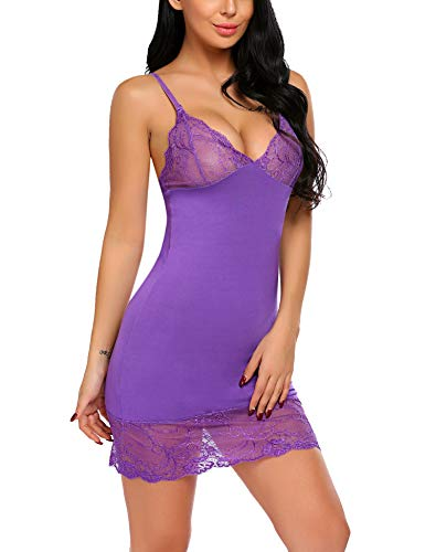 - Avidlove Women Lace Modal Sleepwear Chemises Lingerie V-Neck Full Slip Babydoll Nightgown Purple S