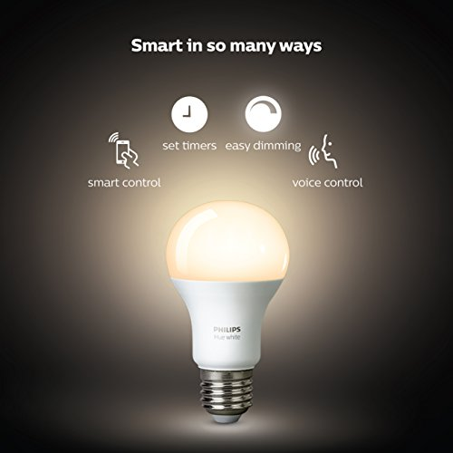 Large Product Image of Philips Hue White A19 60W Equivalent Dimmable LED Smart Bulb Starter Kit (2 A19 60W White Bulbs and 1 Hub Compatible with Amazon Alexa  Apple HomeKit  and Google Assistant), 2 Pack