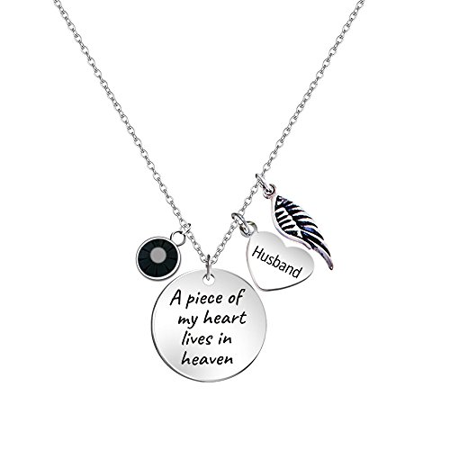 Paris Selection Husband Memorial Necklace A Piece of My Heart Lives in Heaven