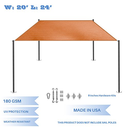 E K Sunrise 20 x 24 Orange Rectangle Sun Shade Sail with Stainless Steel Hardware Kit Outdoor Shade Cloth UV Block Fabric,Straight Edge-Customized