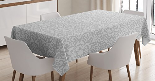 Grey Tablecloth by Ambesonne, Antique Floral Motifs Arabian Art Patterns in Mod Graphic Design Oriental Bohemian Chic, Dining Room Kitchen Rectangular Table Cover, 60 W X 84 Inches, Gray by Ambesonne