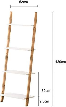 MShelf Blanco Escalera Estantería, Bambú Almacenamiento Estante Unidad Piso Pie Pared Soporte De La Flor Rack para Sala De Estar, Dormitorio-d 4 Nivel: Amazon.es: Hogar
