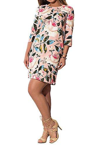 DESY Mujer Vaina Vestido Trabajo Fiesta/Cóctel Tallas Grandes Vintage,Floral Escote Redondo Hasta la Rodilla 3/4 Manga Poliéster VeranoTiro: Amazon.es: ...