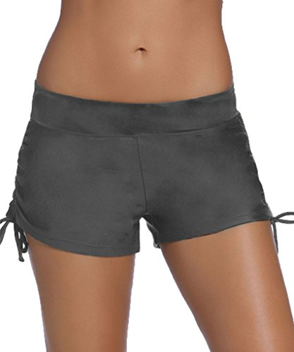 Aleumdr Womens Waistband Side Bottom Shorts Swimming Panty Grey XXL(FBA)