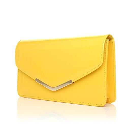 LUCKY Gelb Patent Medium Größe Clutch Tasche