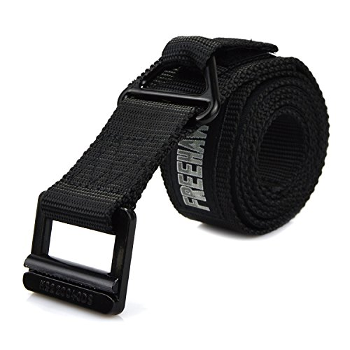 Freehawk Survival Tactical Belt, Emergency Fire Rescue Rigger Waist Belt Military CQB Belt (Black)