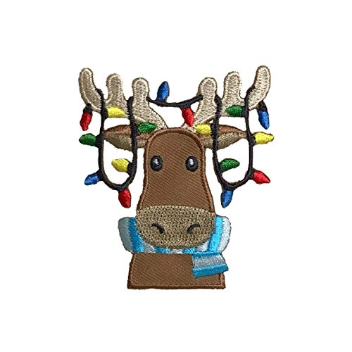 Christmas Moose - Lights in Antlers - Face/Head - Iron on Applique/Embroidered Patch