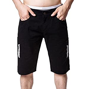 iZHH Men's Casual Cargo Straight Pocket Shorts Blue Jeans