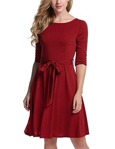 Meaneor Damen Skaterkleid Basic Kleid 3/48 Ärmel Tailliengürtel O-Ausschnitt Stretch