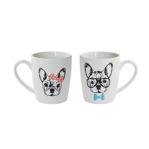 (American Atelier 1562534-2M French Bulldogs Coffee Mugs, White)