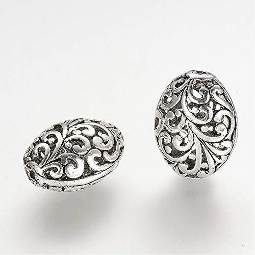 (AMZ Beads - Antique Scroll Alloy Filigree Hollow Tibetan Oval Jewelry Making Craft Beads - 10 pcs (Silver) )