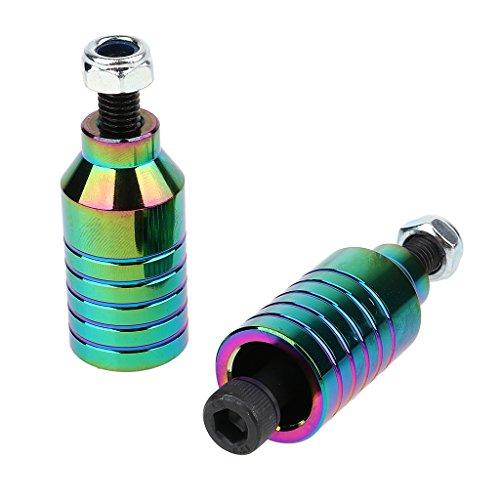 Baosity キックボード部品 アルミ合金 キックボードペグ カーボンスチール アクスル ロックナット 全7色
