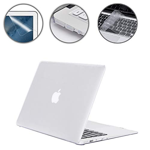 (Applefuns Hard Shell Case + Keyboard Cover + Screen Protector + Dust Plug for MacBook Air 13 inch (Models: A1369 and A1466)- Crystal Clear)