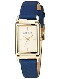 Anne Klein Women's AK/2762CHDB Gold-Tone and Dark Blue Leather Strap Watch
