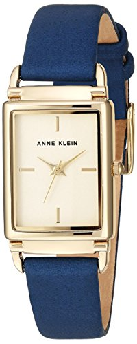 Anne Klein Women's AK/2762CHDB Gold-Tone and Dark Blue Leather Strap Watch