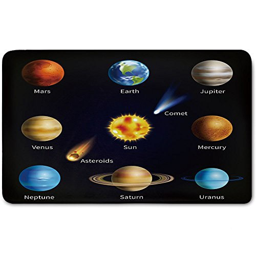 memory foam bath mat educational realistic solar system planets and