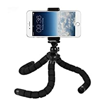 Deyard Octopus Style Portable and Adjustable Tripod Stand Holder for iPhone, Any Smartphone, Camera with Universal Clip (Black)