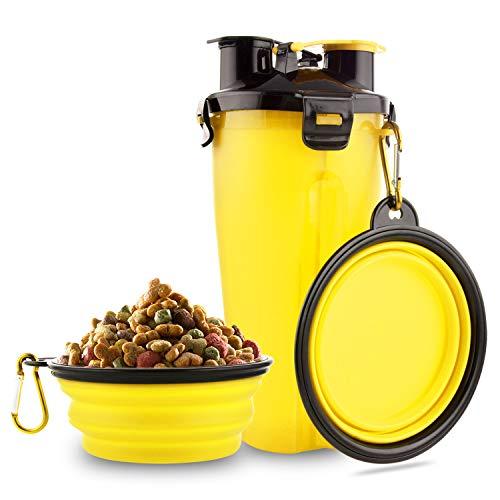 🥇 MATT SAGA Botella de Agua para Perros Portatil Envase de Comida para Perros con 2 Plegable Tazones para Perros Gatos Mascotas Adecuado para al Aire Libre Caminar Viajar