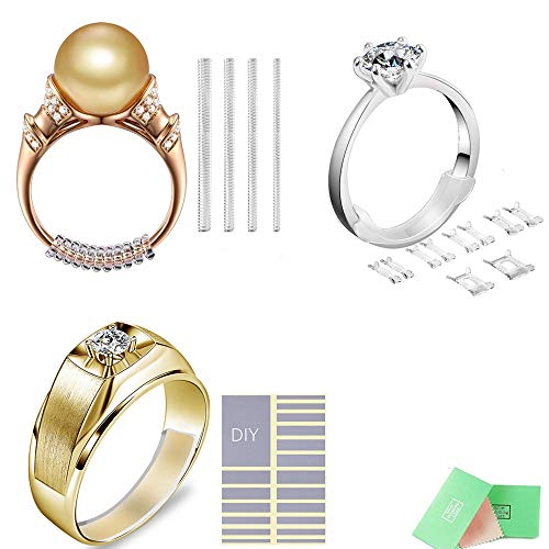 Loose Platinum Diamonds - NNIOV Ring Size Adjuster for Loose Rings, 33Pc Various Styles & Sizes, Fit Any Rings, Clear Invisible Ring Reducer Guards, Gift with Silver Polishing Cloth (Universal Mix 3 Designs 33Pcs Kit)