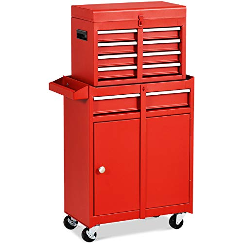 Goplus 5-Drawer Rolling Tool Chest, Tool Storage Box, Removable Tool Cabinet, Sliding Metal Organizer w/Lockable Drawers (Red) ()
