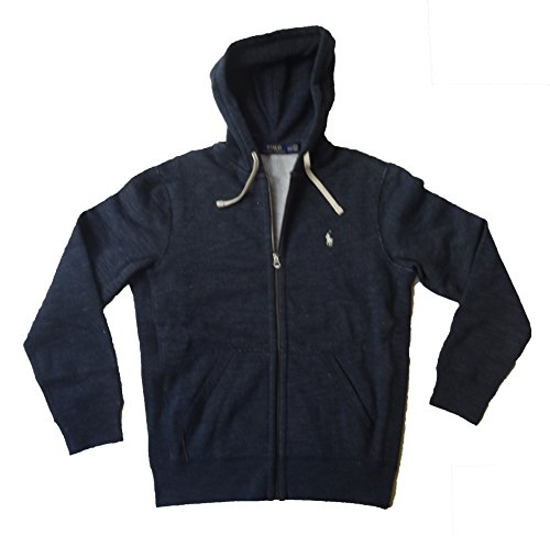 Polo Ralph Lauren Classic Full Zip Fleece Hooded Sweatshirt  Large  Midnight Heather Blue