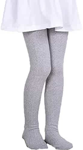 7d98e3b47e9b9 Monvecle Girls' Thick Cotton Stockings Socks Stretch Cable Knit Footed  Tights