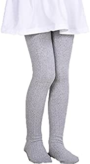 Monvecle Girls' Thick Cotton Stockings Socks Stretch Cable Knit Footed Ti