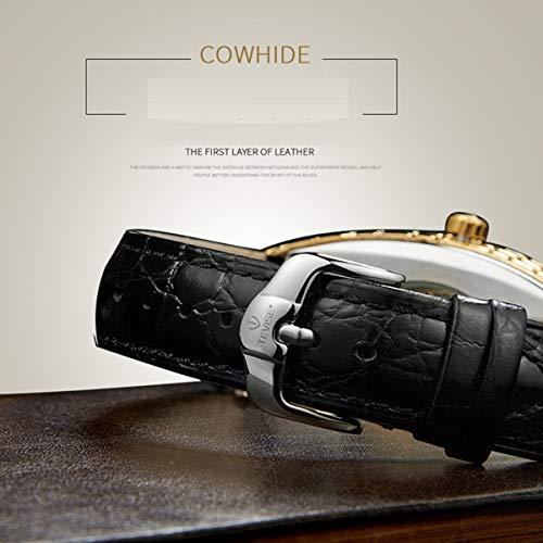 Qxue Män automatisk affärs fyrkantig urtavla design läderarmband mekanisk klocka Tourbillon sport, färg G