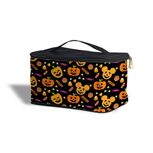 Queen of Cases Halloween Mickey Pumpkins Disney Inspired Cosmetics Storage Case - One Size Cosmetics Storage Case - Makeup Zipped Travel Bag ()