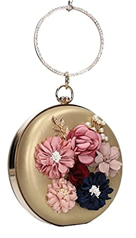 Marie Floral Detail Round Clutch Faux Leather Womens Party Prom Wedding Ladies Clutch Bag - Gold (Pinky Marie)