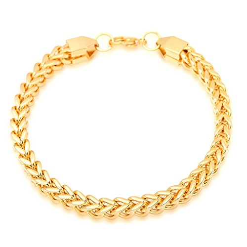 (MoAndy Titanium Steel Men,Women Bracelet Link Wrist Chain Simple Link)