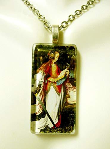 Saint Katherine glass pendant and chain - ()