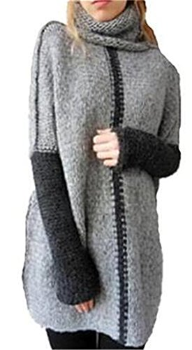 AILIENT Sweater Femmes Automne Pull Tricots Turtle Neck Manches Longues Jumpers Sweater Blouse Sweats Casual Pullover Patchwork Hauts Chaud Grey