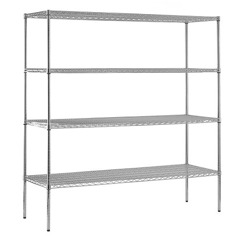 Open Adjustable Steel Shelving (Sandusky WS722474-C Chrome Steel Heavy Duty Adjustable Wire Shelving, 2400 lbs Capacity, 72