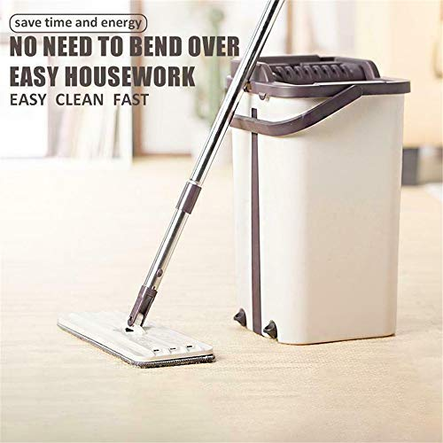 Home Mop and Bucket - Self Cleaning Flat Mop Bucket & 4 Pads by uramircle (Image #1)