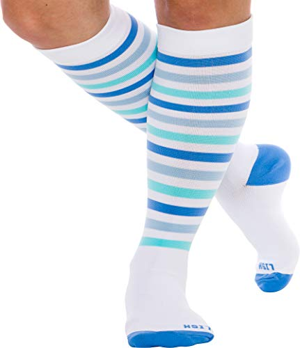 (LISH Women's True Stripes Wide Calf Compression Socks - Graduated 15-25 mmHg Knee High Plus Size Support Stockings (Blue, M/L))