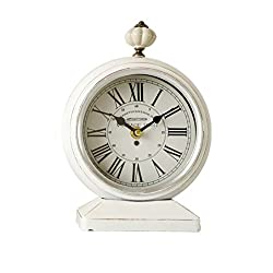 HAOFAY clock - Retro Vintage Mantel/Wall Quartz Clock Antique Metal Living Room Desk and Shelf Clock Decoration (Color : White)