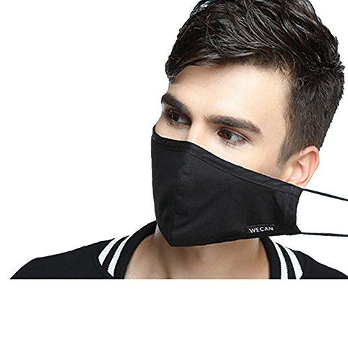 ZWZCYZ-N95-Respirator-Masks-Anti-haze-Masks-4-Layer-Filter-Insert-Protective-Filter-Media-Insert-Activated-Carbon-Cotton-Mouth-Masks-LargeMens-Black