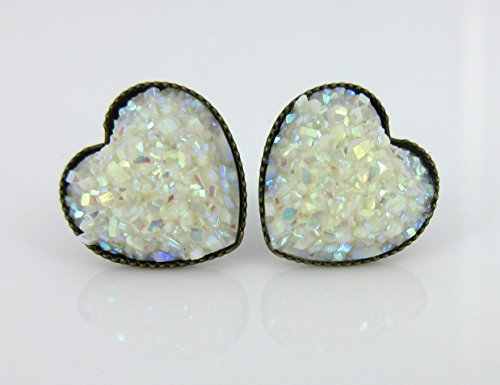 Antiqued Gold-tone White AB Heart Faux Druzy Stone Stud Earrings 12mm
