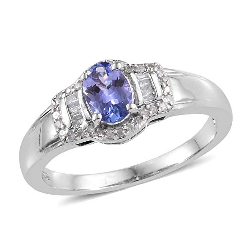 925 Sterling Silver Platinum Plated Tanzanite Diamond Baguette Bridal Anniversary Ring Size 7 Cttw 0.8
