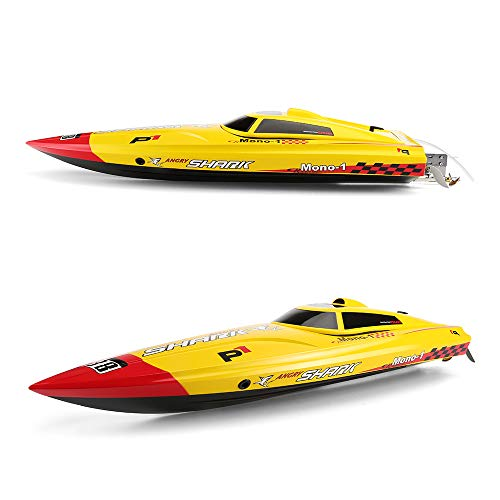 (FUNTECH RC Boat ARTR (Almost Ready to Run), Super Fast Brushless Remote Control Boats 2.4GHz 45 Mph+ RC Boat with 3720/1800KV Motor - Metal Propeller, Fit for Freshwater- Pools,Lake,River, Yellow)