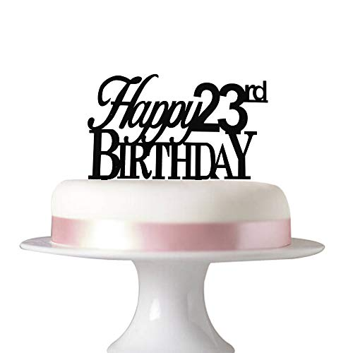 Succris Happy 23rd birthday cake tooper 23rd birthday party decorations Acrylic Black]()
