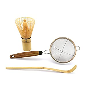 Bamboo Matcha Whisk Set by Pumeli - Essential Tools for Clump Free Tea – 1 Set