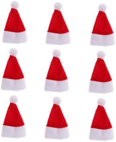 SM SunniMix ドールハウス ミニチュア クリスマス サンタクロース ハット 帽子 1/12スケール 9個セット